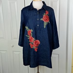 4/$20 Say What? chambray tunic w/ embroidery